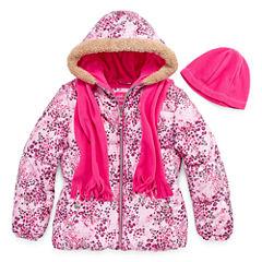 Pink Platinum Heavyweight Puffer Jacket - Girls-Big Kid