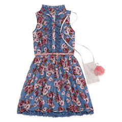 Knit Works Floral Belted Sleeveless Shirt Dress w/ Purse - Girls' 7-16