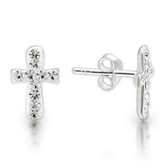 Sterling Silver Round White Crystal Cross Stud Earrings