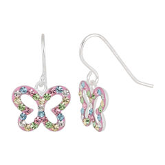 Children's Sterling Silver Multi-color Crystal Butterfly Drop Earrings
