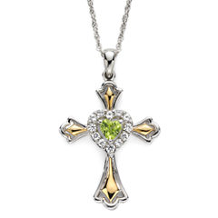 Peridot & Lab-Created White Sapphire Two-Tone Cross Pendant Necklace