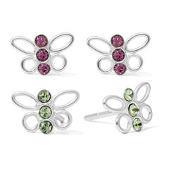 White Cubic Zirconia Sterling Silver Earring Sets