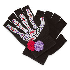 Spooky Streets Fingerless Floral Gloves Dress Up Costume Womens