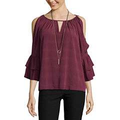 by&by Long Sleeve Boat Neck Chiffon Blouse-Juniors