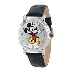 Disney Mickey Mouse Womens Black Leather Strap Watch