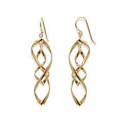 14K Gold Over Silver Double Twist Drop Earrings