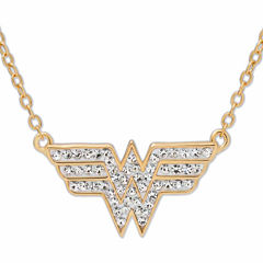 DC Comics® Wonder Woman 14K Gold Over Silver Crystal Necklace
