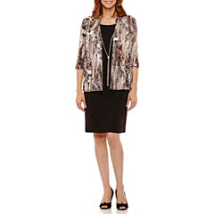 R & M Richards 3/4 Sleeve Jacket Dress-Petites