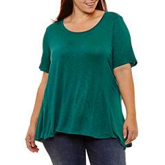 Boutique + Short Sleeve T-Shirt-Womens Plus