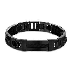 Inox® Jewelry Mens Stainless Steel & Black IP Link Bracelet