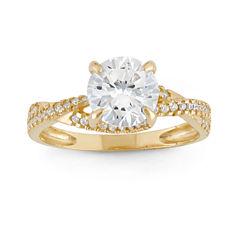 Diamonart Womens 2 CT. T.W. Lab Created Round White Cubic Zirconia 10K Gold Engagement Ring