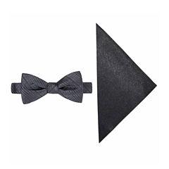 JF J. Ferrar® Textured Striped Bow Tie and Pocket Square Set