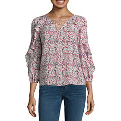 a.n.a. 3/4 Sleeve Lace Up Ruffle Blouse