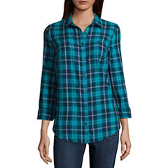 St. John's Bay Long-Sleeve Brushed Twill Shirt Long Sleeve Camp Shirt