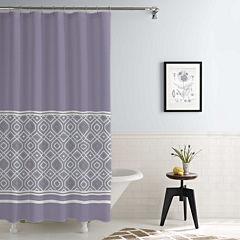 Pacific Coast Textiles Waterproof Oxford Stripe Printed Shower Curtain Set