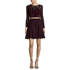 My Michelle Long Sleeve Embellished Party Dress-Juniors