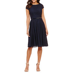 Black Label by Evan-Picone Short Sleeve Lace Fit & Flare Dress