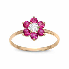 Girls 1/5 CT. T.W. Lab Created Red Cubic Zirconia 10K Gold Delicate Ring