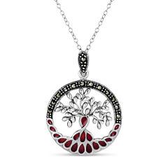 Swarovski Womens Black Marcasite Sterling Silver Pendant Necklace