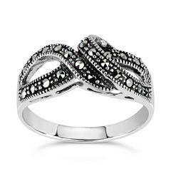 Swarovski Womens Black Marcasite Sterling Silver Cocktail Ring