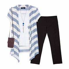 by&by girlL SS Cardigan Legging Set with Necklace- Girls' 7-16