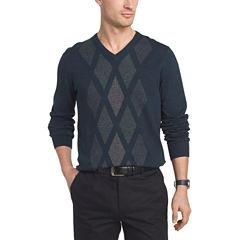 Van Heusen Argyle Novelty Vneck Sweater V Neck Long Sleeve Pullover Sweater