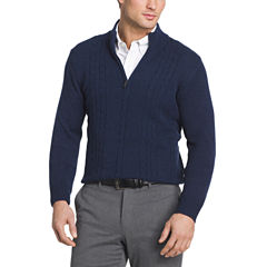 Van Heusen Cable Qtr Zip Sweater Long Sleeve Pullover Sweater