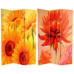 Oriental Furniture 6' Poppies And Sunflowers RoomDivider