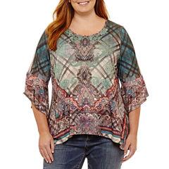Unity World Wear 3/4 Sleeve Scoop Neck Knit Paisley Blouse-Plus