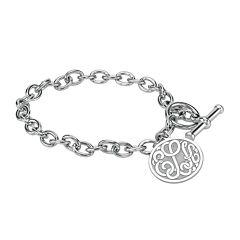 Personalized Sterling Silver 20mm Monogram Charm Bracelet