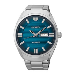 Seiko® Recraft Mens Blue Dial Stainless Steel Automatic Watch SNKN03