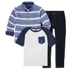 Us Polo Assn. 3-pc. Stripe Pant Set Boys