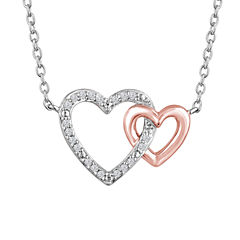 Womens Diamond Accent Sterling Silver & 14K Rose Gold Over Silver Pendant Necklace