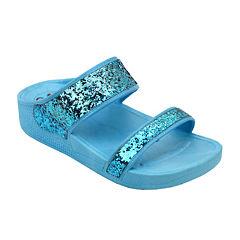 OMGirl Amberlee Girls Double-Strap Glitter Molded Sandals - Little Kids