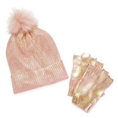 Mixit Pom Beanie And Fingerless Glove 2-pc. Knit Cold Weather Set