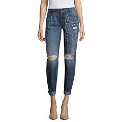 Project Runway Embellished Pearl Boyfriend Jeans