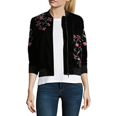 a.n.a. Embroidered Velvet Bomber Jacket