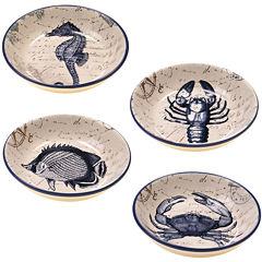 Certified International Coastal Postcards Set of 4 Pasta Bowls