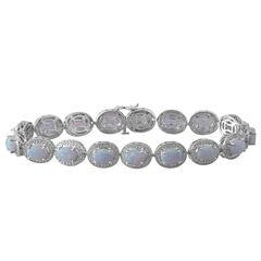 Lab-Created Opal & Diamond-Accent Sterling SilverMilgrain Link Bracelet