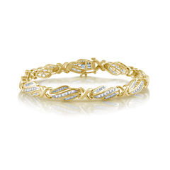 Womens 7 1/2 Inch 2 CT. T.W. White Diamond 10K Gold Link Bracelet