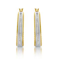 1/2 CT. T.W. White Diamond Gold Over Silver Hoop Earrings