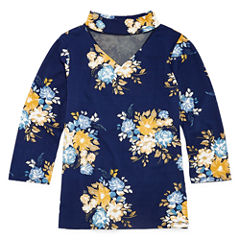 Insta Girl Gigi Neck 3/4 Sleeve Printed Top - Girls' 7-16