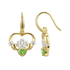 Heart-Shaped Genuine Peridot and Diamond-Accent Claddagh Earrings