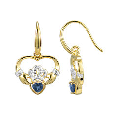 Heart-Shaped Genuine Blue Sapphire and Diamond-Accent Claddagh Earrings