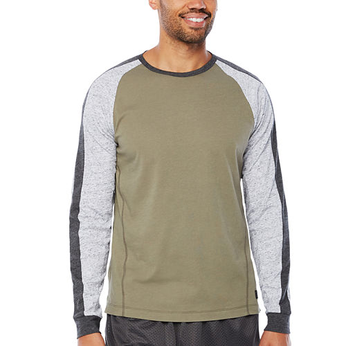 Msx By Michael Strahan Brushed Cotton Color Blocked Long Sleeve Crew Neck T-Shirt