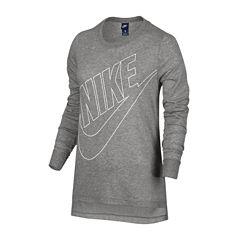 Nike Long Sleeve Crew Neck T-Shirt-Womens