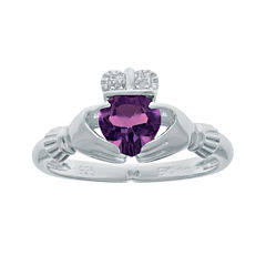 Heart-Shaped Genuine Amethyst and Diamond-Accent Sterling Silver Claddagh Ring