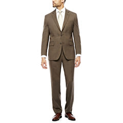 Stafford® Travel Wool Blend Stretch Brown Sharkskin Suit Separates -Classic Fit