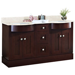 American Imaginations Tiffany Rectangle Floor Mount Transitional Birch Wood-Veneer Vanity Base Set Only In Coffee