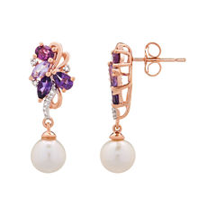 Diamond Accent Marquise Purple Amethyst 14K Gold Over Silver Stud Earrings
